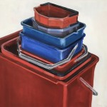buckets, oil on panel, 30x30 cm.