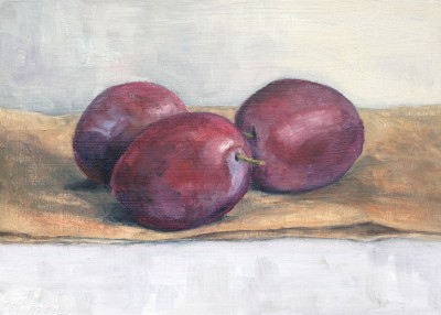 plums, oil on panel, 13x18 cm.