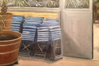 blue chairs, Hortus Botanicus, oil on panel, 20x30 cm.